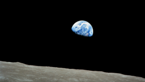The famous Earthrise photograph captured by astronaut William Anders in 1968. These astronauts didn't know they were actually still inside of the Earth's geocorona. Image courtesy of NASA