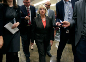 "Senator Patty Murray, D-Wash., arrives for a vote on Capitol Hill in Washington in this October 18, 2017 file photo. Murray said the GOP bill would women to accept care that might conflict with their wishes ""at a deeply personal, often incredibly painful moment."" Photo by Joshua Roberts/Reuters"