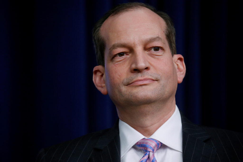 U.S. Labor Secretary Alexander Acosta takes part in a forum called Generation Next at the Eisenhower Executive Office Buil...