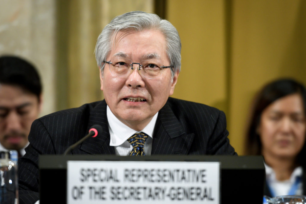 United Nations Special Representative of the Secretary-General for Afghanistan Tadamichi Yamamoto delivers a speech during the UN conference on Afghanistan on November 28, 2018 at the UN Office in Geneva, Switzerland.    Fabrice. Pool via Reuters