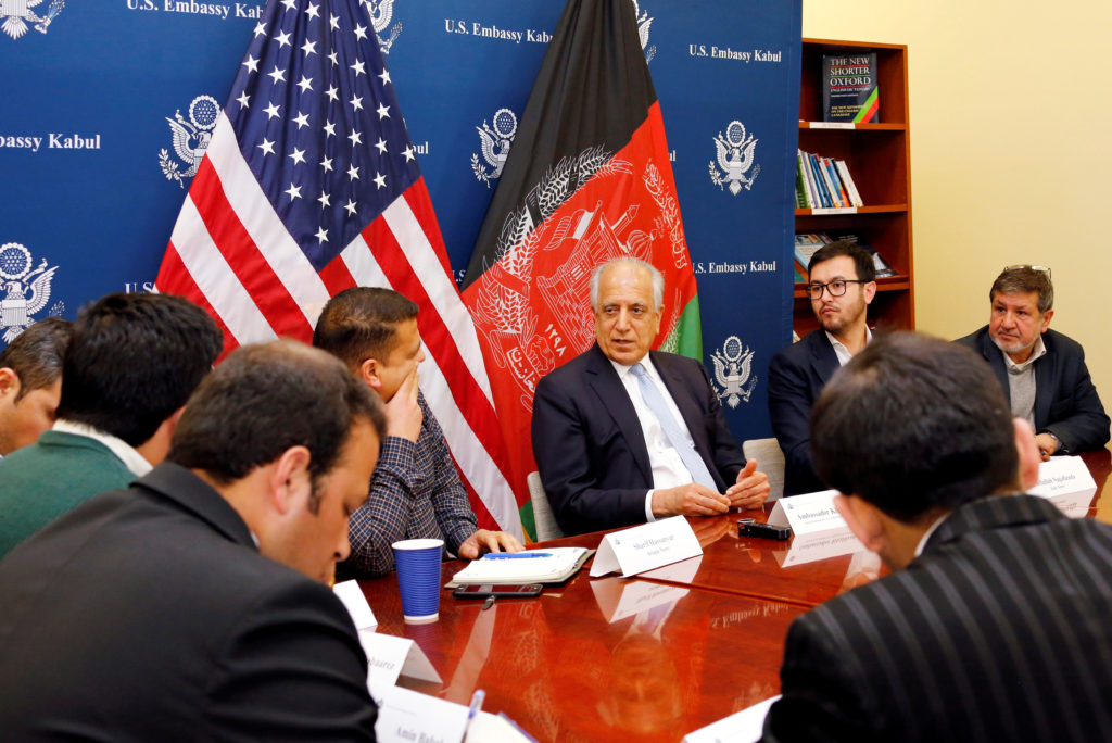 U.S. special envoy for peace in Afghanistan, Zalmay Khalilzad, speaks during a roundtable discussion with Afghan media at the U.S Embassy in Kabul, Afghanistan January 28, 2019. Photo from U.S Embassy/ Handout via Reuters