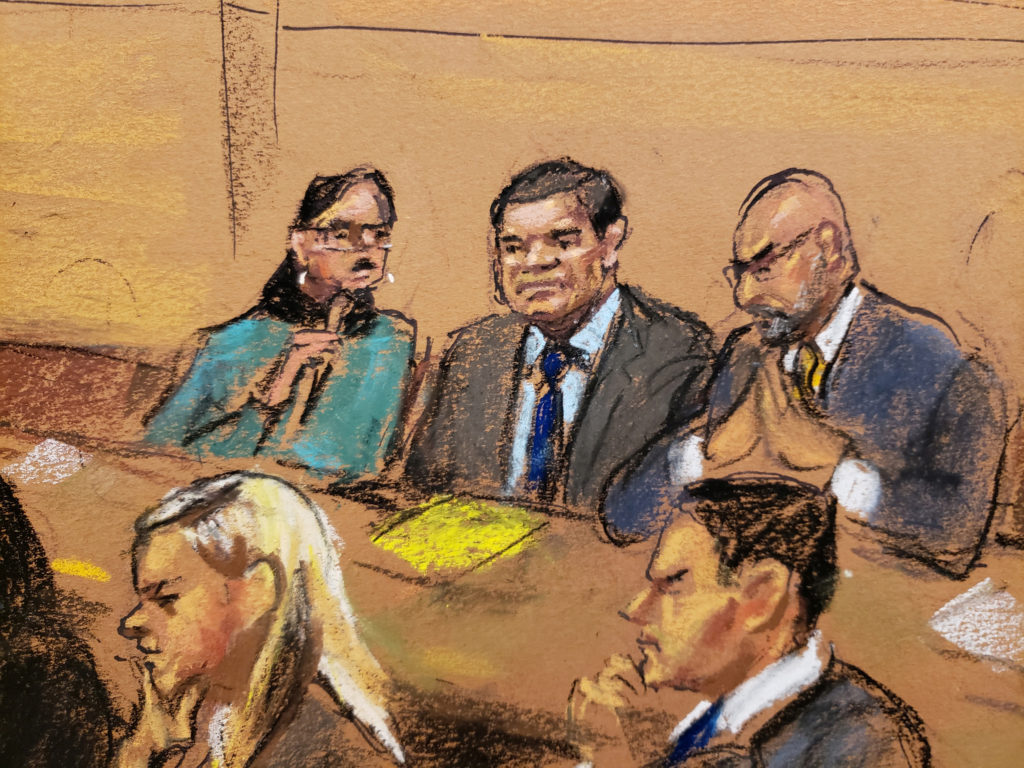 "Accused Mexican drug lord Joaquin ""El Chapo"" Guzman (C) sits in court in this courtroom sketch during Guzman's trial in Brooklyn federal court in New York City, U.S., January 30, 2019. Jane Rosenberg via Reuters"