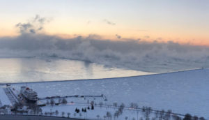 Steam is seen above Lake Michigan during subzero temperatures carried by the polar vortex in Chicago, Illinois, U.S., January 30, 2019, in this picture obtained from social media. Mandatory credit IRSHAAD GOEDAR/via REUTERS