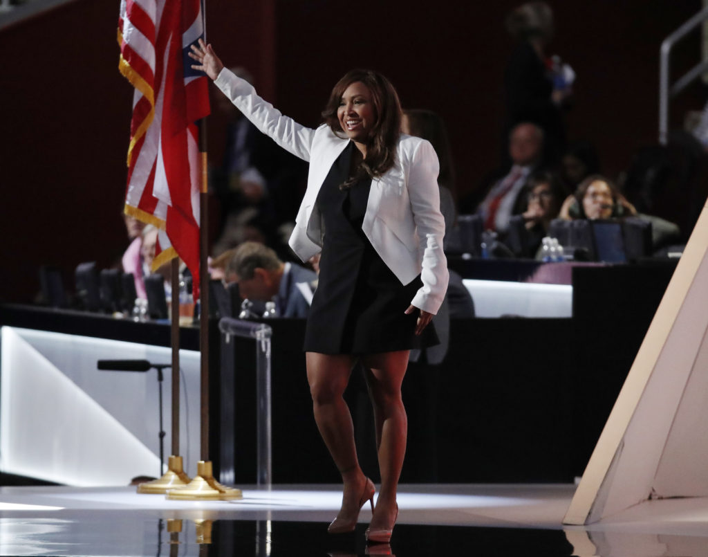Lynne Patton, vice president of The Eric Trump Foundation, takes the stage at the Republican National Convention in Cleveland, Ohio, U.S. July 20, 2016. REUTERS/Jim Young - HT1EC7L04CROK