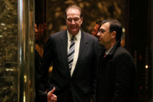 Economist and former Deputy Assistant Secretary of State David Malpass stands in an elevator headed to a meeting with then President-elect Donald Trump at Trump Tower in New York on December 2, 2016. Trump is expected to tap Malpass to head the World Bank. Photo by Mark Kauzlarich/Reuters