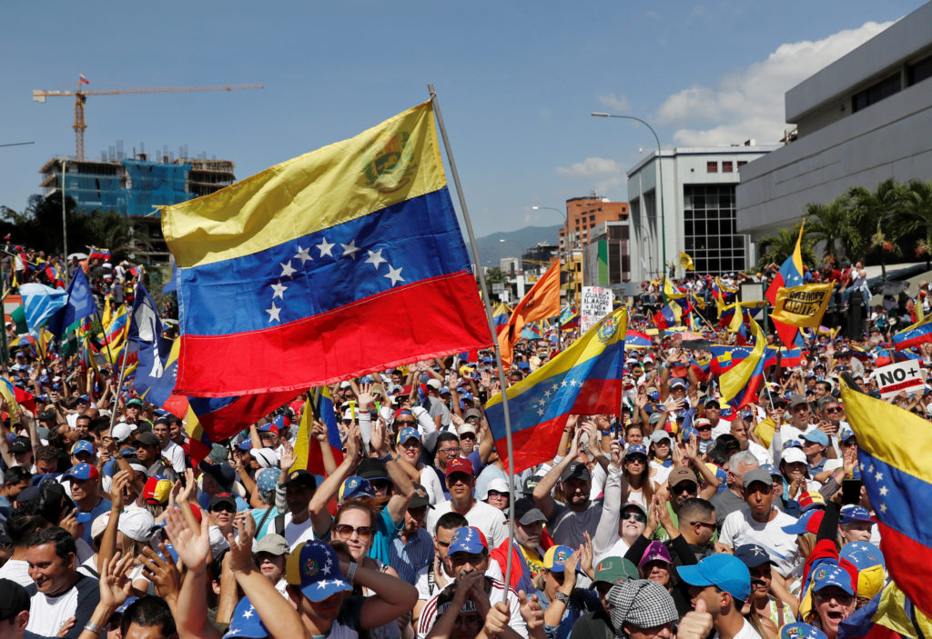 Opposition supporters take part in a rally against Venezuelan President Nicolas Maduro's government in Caracas, Venezuela ...