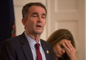 Virginia Governor Ralph Northam, accompanied by his wife Pamela Northam announces he will not resign during a news conference Richmond, Virginia. Photo by Jay Paul/Reuters