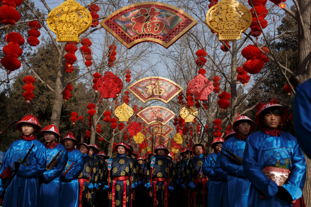 Performers rehearse a re-enactment of a Chinese New Year Qing Dynasty ceremony at the Temple of Earth in Ditan Park in Beijing on February 4, 2019. Photo by Thomas Peter/Reuters