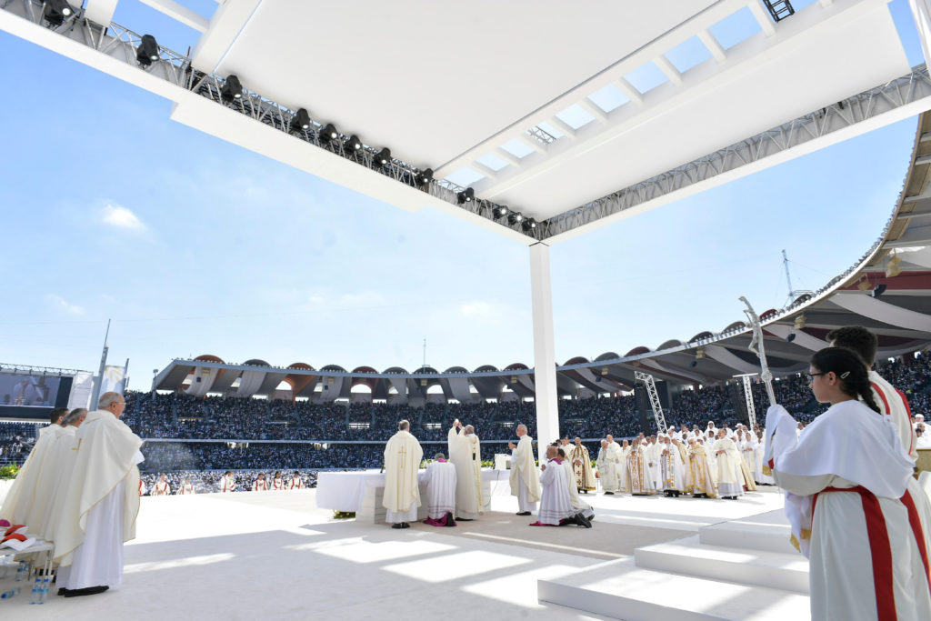 Pope Francis holds a mass at Zayed Sports City Stadium in Abu Dhabi, United Arab Emirates, February 5, 2019. Vatican Media/­Handout via Reuters