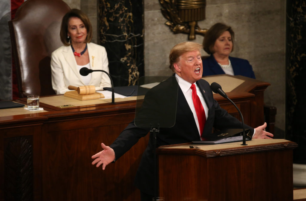 Speaker of the House Nancy Pelosi (D-CA) watches as U.S. President Donald Trump delivers his second State of the Union address to a joint session of the U.S. Congress in the House Chamber of the U.S. Capitol on Capitol Hill in Washington, U.S. February 5, 2019. REUTERS/Leah Millis