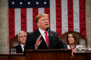President Donald Trump delivered the State of the Union address, with Vice President Mike Pence and Speaker of the House Nancy Pelosi, at the Capitol in Washington, D.C. on February 5, 2019. Photo by Doug Mills/Pool via REUTERS