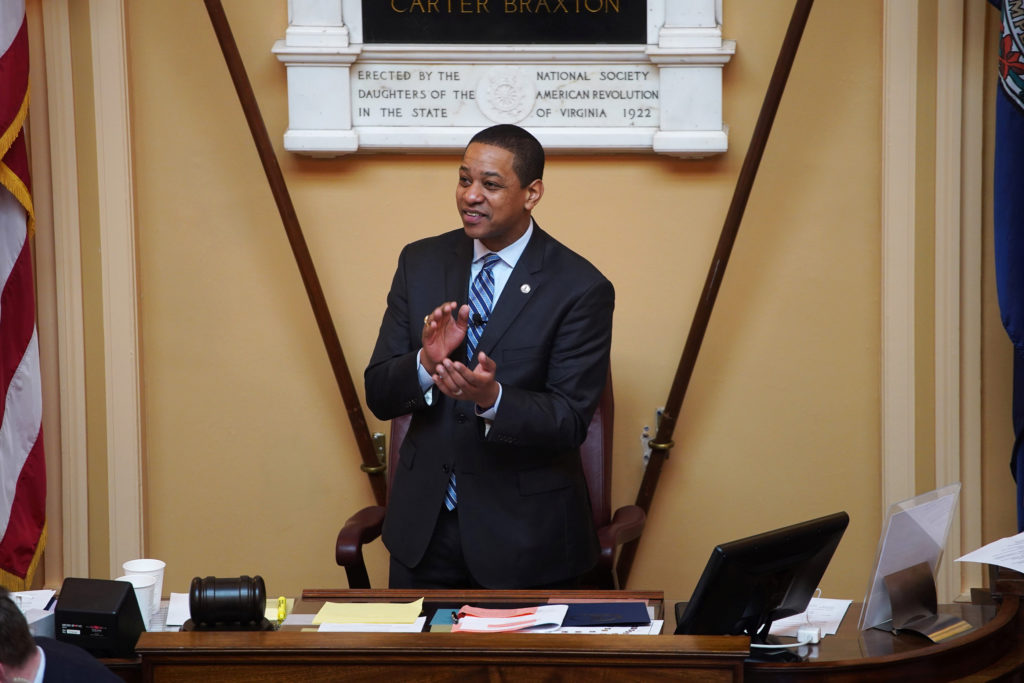 Justin Fairfax, the Lieutenant Governor of Virginia, opens the state's Senate meeting during a session of the General Asse...