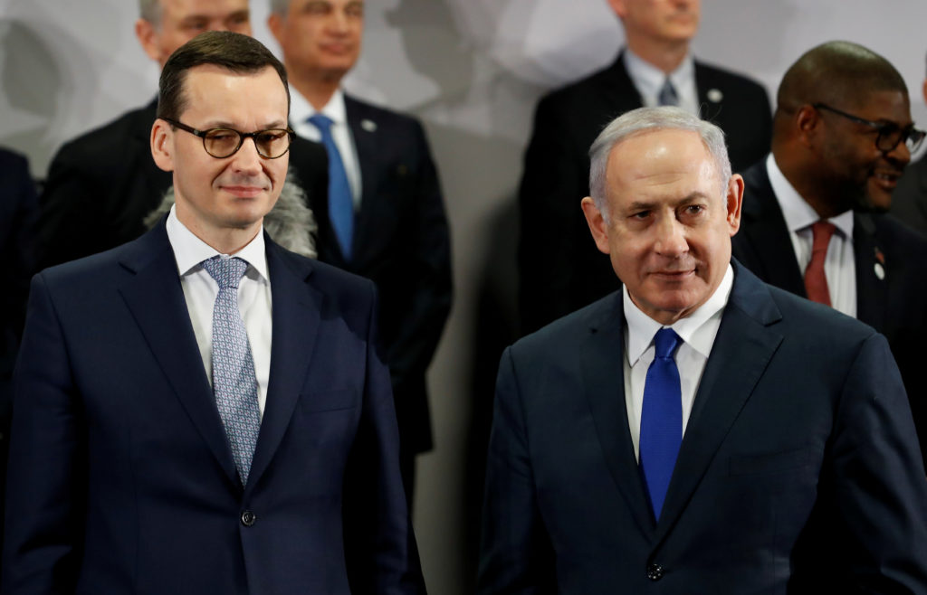 FILE PHOTO: Poland's Prime Minister Mateusz Morawiecki and Israel's Prime Minister Benjamin Netanyahu look on during the Middle East summit in Warsaw, Poland, February 14, 2019. Photo by Kacper Pempel/Reuters