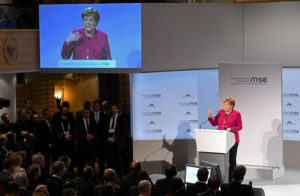 German Chancellor Angela Merkel speaks during Munich Security Conference in Munich, Germany February 16, 2019. Photo by Andreas Gebert/Reuters