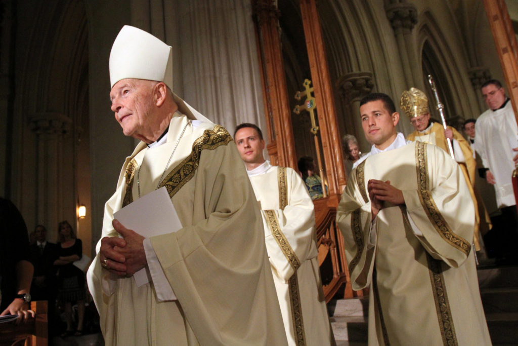 Cardinal Theodore E. McCarrick, retired archbishop of Washington, processes at the beginning of a Mass at the Cathedral Basilica of the Sacred Heart in Newark, New Jersey, U.S., October 4, 2014. Picture taken October 4, 2014. Photo by Gregory A. Shemitz/Reuters