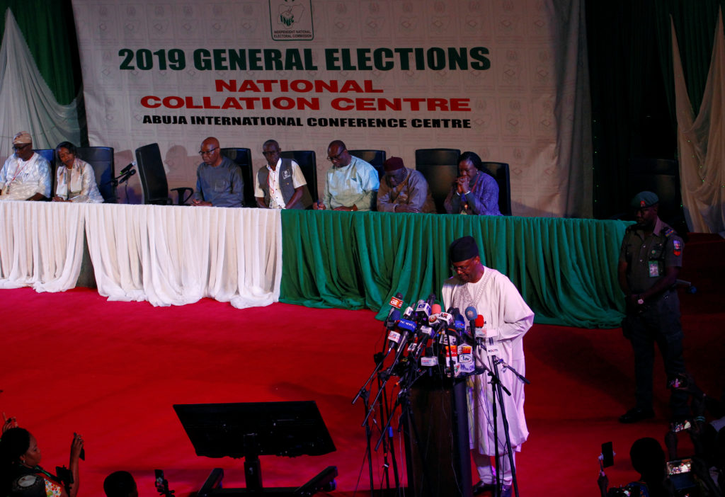 Mahmood Yakubu, chairman of the Independent Electoral Commission (INEC), speaks during a news conference, after the postponement of the presidential election, in Abuja, Nigeria February 16, 2019. Photo by Gbemileke Awodoye/Reuters
