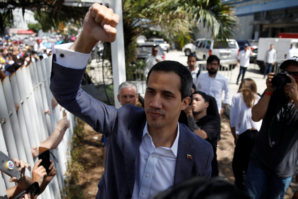 Venezuelan opposition leader Juan Guaido, who many nations have recognized as the country's rightful interim ruler, arrives to attend a meeting with volunteers to coordinate humanitarian aid in Caracas, Venezuela February 16, 2019. REUTERS/Marco Bello - RC1BB3EA7A00