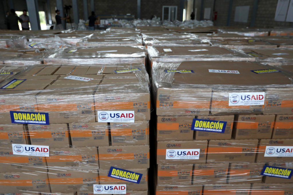 "Humanitarian aid for Venezuela, with a sticker that reads ""Donation, prohibited its sale"", is seen in a warehouse on the Tienditas cross-border bridge between Colombia and Venezuela in Cucuta, Colombia, February 18, 2019. REUTERS/Luisa Gonzalez - RC111FACC8E0"