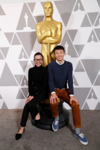 "Diane Quon (L) and Bing Liu from ""Minding The Gap"" attend a reception for Oscar-nominated documentary films, ahead of the 91st Academy Awards, in Los Angeles, California, U.S. February 19, 2019. Photo by Mario Anzuoni/Reuters"
