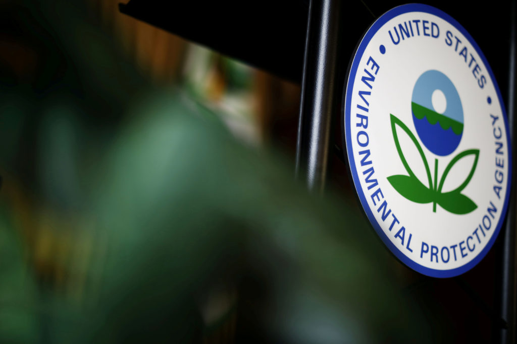 The U.S. Environmental Protection Agency (EPA) sign is seen on the podium at EPA headquarters in Washington. Photo by Ting Shen/Reuters