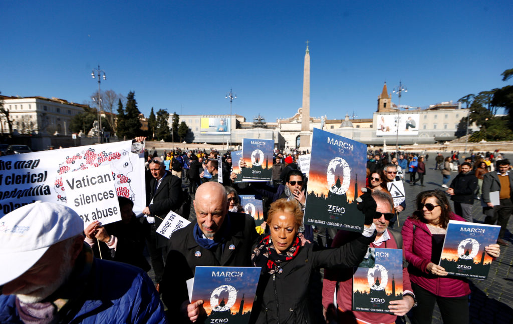 "People take part in ""March for Zero Tolerance"", during the four-day meeting on the global sexual abuse crisis at the Vatican, in Rome, Italy, February 23, 2019. photo by Yara Nardi/Reuters"
