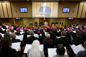 Pope Francis is seen as the four-day meeting on the global sexual abuse crisis takes place at the Vatican February 23, 2019. Vatican Media/Handout via