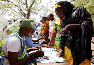 People arrive to cast their votes during Nigeria's presidential election at a polling station in Yola, Adamawa State, Nigeria February 23, 2019. Photo by Nyancho NwaNri/Reuters