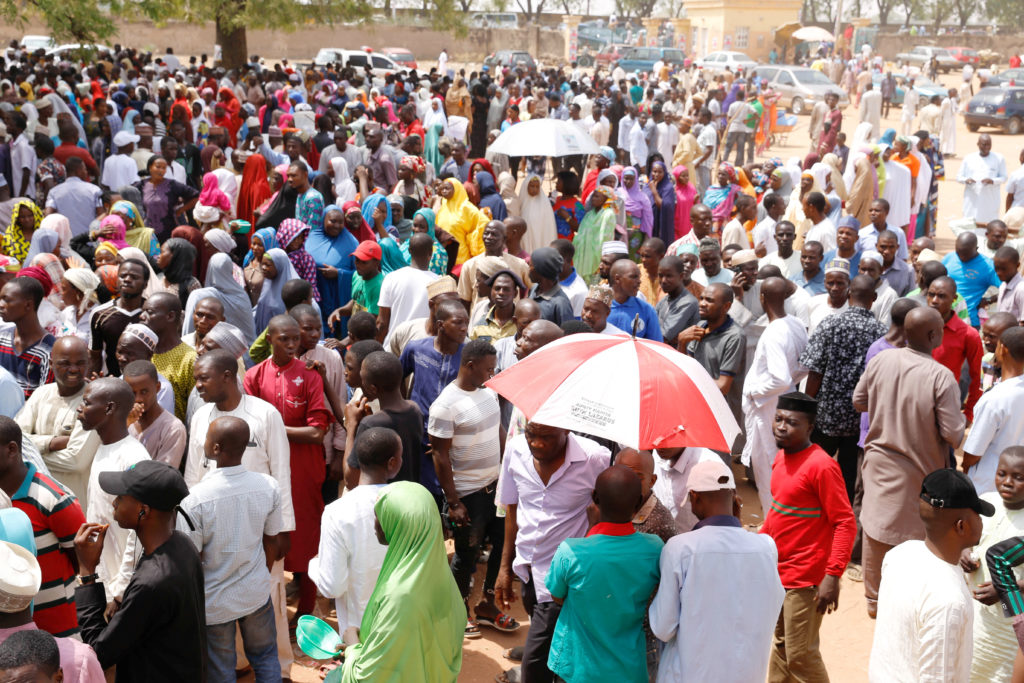 People queue during Nigeria's presidential election at Capital School polling unit, in Yola, Adamawa State, Nigeria February 23, 2019.  Photo by Nyancho NwaNri/Reuters