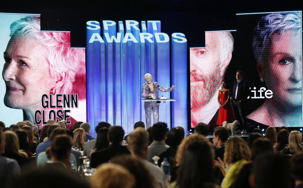"2019 Film Independent Spirit Awards - Show - Santa Monica, California, U.S., February 23, 2019 - Glenn Close accepts her award for Best Female Lead for the film ""The Wife."" Photo by Mario Anzuoni/Reuters"
