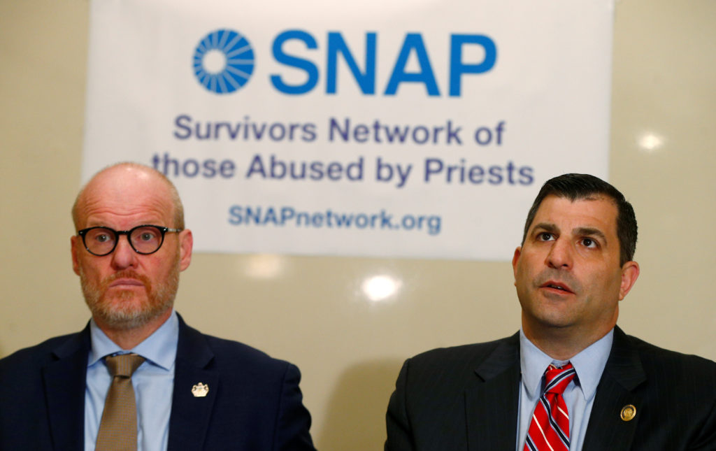 Members of the SNAP network (Survivors Network of those Abused by Priests) Shaun Dougherty and Mark Rozzi attend a news conference, on the final day of the Vatican summit on the global sexual abuse crisis, in Rome, Italy, February 24, 2019. Photo by Yara Nardi/Reuters