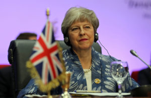 Britain's Prime Minister Theresa May attends a summit between Arab league and European Union member states, in the Red Sea resort of Sharm el-Sheikh, Egypt, February 24, 2019. Photo by Mohamed Abd El Ghany/Reuters