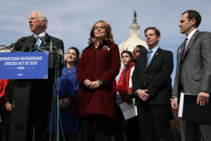U.S. Representative Mike Thompson, D-Calif., joined by shooting survivor and former Representative Gabby Giffords, D-Ariz., holds a news conference about his proposed gun background check legislation, on Capitol Hill, February 26, 2019. Photo by Jonathan Ernst/Reuters