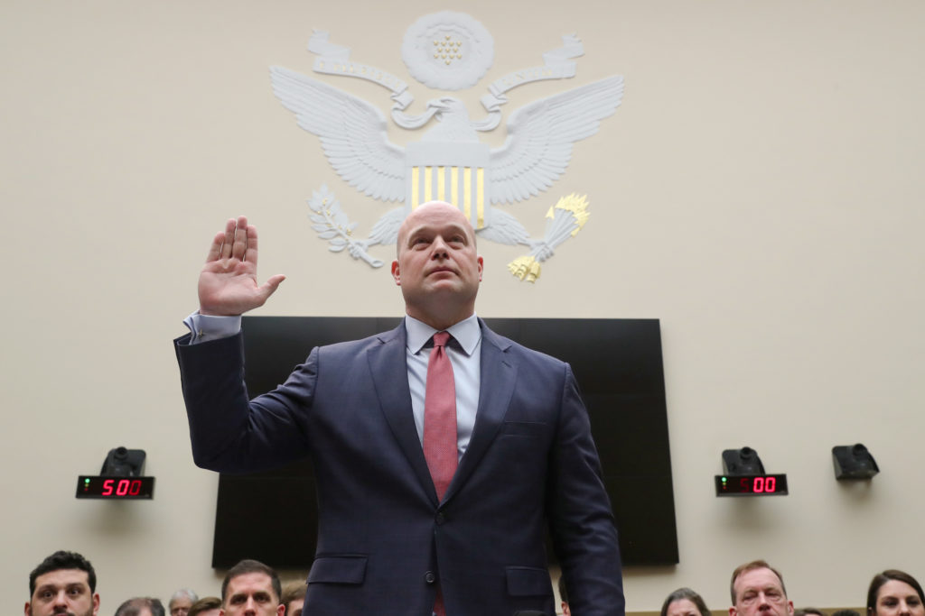 U.S. acting Attorney General Matthew Whitaker is sworn in to testify at a hearing of the House Judiciary Committee on Capitol Hill in Washington, D.C. Photo by Jonathan Ernst/Reuters