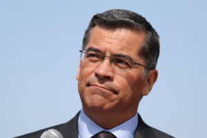FILE PHOTO: California Attorney General Xavier Becerra speaks about President Trump's proposal to weaken national greenhouse gas emission and fuel efficiency regulations, at a media conference in Los Angeles, California, U.S. August 2, 2018. REUTERS/Lucy Nicholson/File Photo