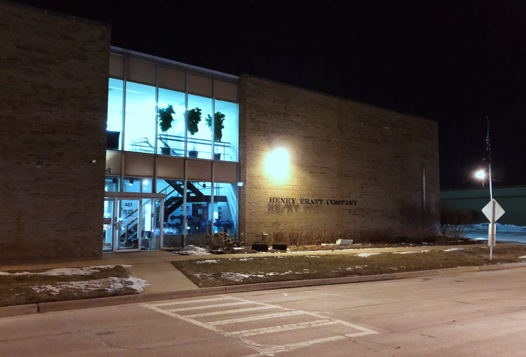 The exterior of the Henry Pratt valve assembly plant -- where police say Gary Martin shot fellow employees and wounded police officers -- is pictured in Aurora, Illinois February 15, 2019.  Picture taken February 15, 2019. Ptoho by Robert Chiarito/Reuters