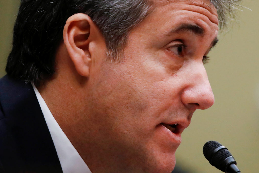 Michael Cohen, the former personal attorney of U.S. President Donald Trump, testifies before a House Committee on Oversight and Reform hearing on Capitol Hill in Washington, U.S., Photo by February 27, 2019. REUTERS/Carlos Barria