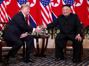 U.S. President Donald Trump and North Korean leader Kim Jong Un shake hands before their one-on-one chat during the second U.S.-North Korea summit at the Metropole Hotel in Hanoi, Vietnam February 27, 2019. Photo by REUTERS/Leah Millis