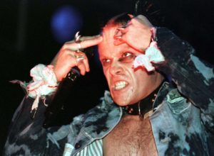 """Keith Flint of British rock band """"The Prodigy"""" performs on stage during a concert in Vienna, in 1997. The Prodigy performed in front of some 15,000 spectators during the """"Sundance '97"""" open-air festival."""