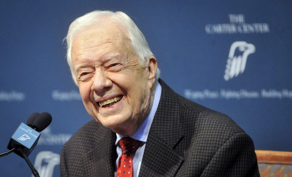 Former U.S. President Jimmy Carter takes questions from the media during a news conference about his recent cancer diagnosis and treatment plans, at the Carter Center in Atlanta, Georgia August 20, 2015. Photo by John Amis/Reuters