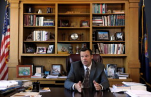 Kansas Secretary of State Kris Kobach talks about the Kansas voter ID law that he pushed to combat what he believes to be rampant voter fraud in the United States in his Topeka, Kansas, in 2016. Photo by Dave Kaup/Reuters