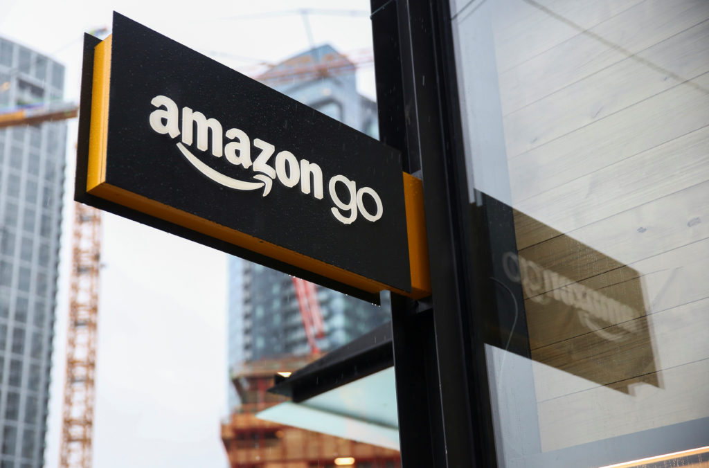 A sign for the new Amazon Go store on 7th Avenue at Amazon's Seattle headquarters in Seattle, Washington, U.S., January 29, 2018. Photo by Lindsey Wasson/Reuters
