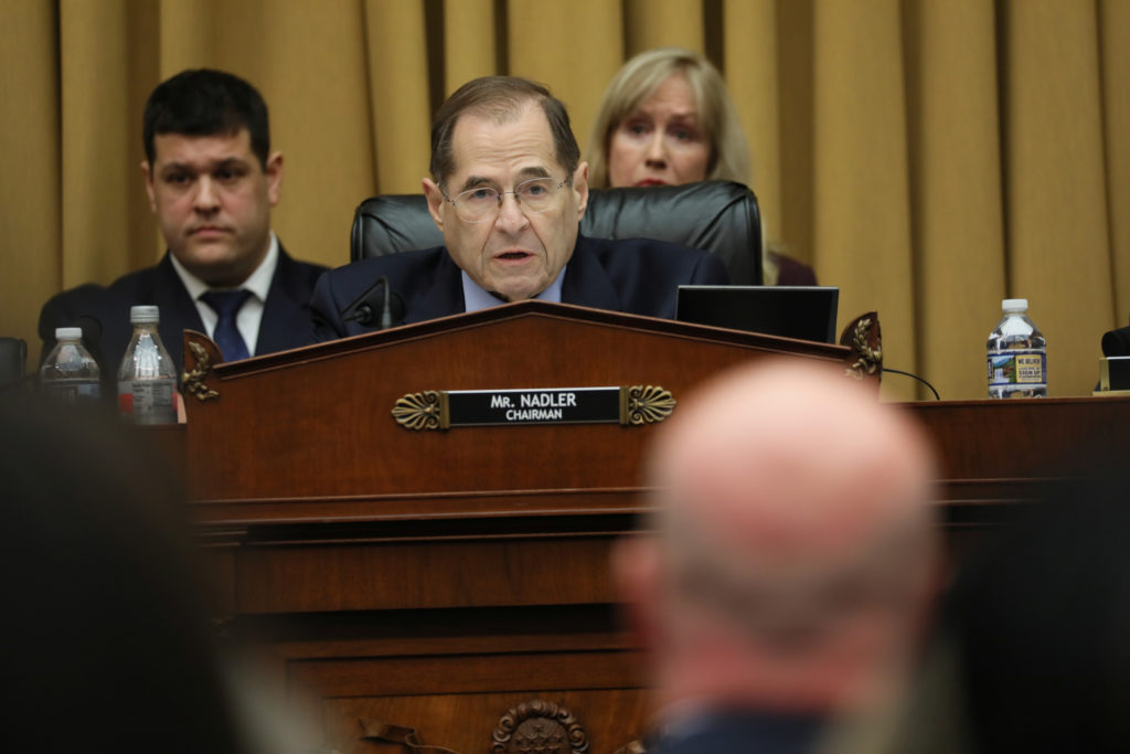 House Judiciary Committee Chairman Jerrold Nadler (D-N.Y.) presides as Acting U.S. Attorney General Matthew Whitaker testifies before a House Judiciary Committee hearing on oversight of the Justice Department on Capitol Hill in Washington, D.C. Photo by Jonathan Ernst/Reuters