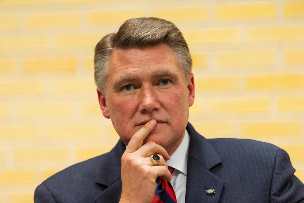Mark Harris waits to be introduced during a volunteer meeting and rally at the Ardmore Auditorium in Winston-Salem, North Carolina. Photo by Chris Keane/Reuters