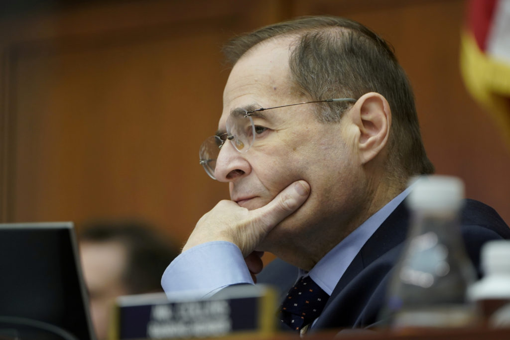 House Judiciary Committee Chairman Jerrold Nadler (D-N.Y.) listens as Acting U.S. Attorney General Matthew Whitaker testifies before a House Judiciary Committee hearing on oversight of the Justice Department on Capitol Hill in Washington, D.C. Photo by Joshua Roberts/Reuters