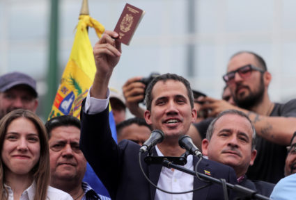 Venezuelan opposition leader Juan Guaido, who many nations have recognized as the country's rightful interim ruler, talks to supporters during a rally against Venezuelan President Nicolas Maduro's government in Caracas, Venezuela March 4, 2019. Photo by Ivan Alvarado/Reuters