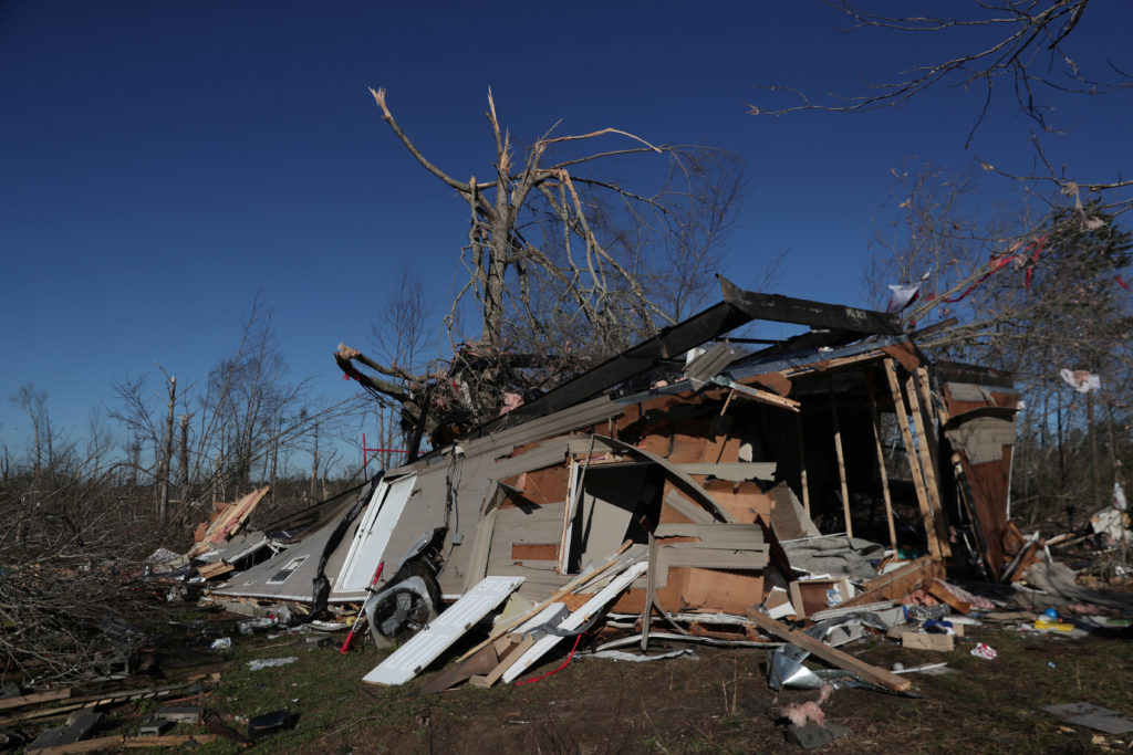 A house was devastated by two deadly back-to-back tornadoes in Beauregard, Alabama. Photo by REUTERS/Shannon Stapleton
