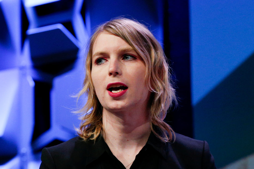 Chelsea Manning speaks at the South by Southwest festival in Austin, Texas, U.S., March 13, 2018. Photo by Suzanne Cordeiro/Reuters/File Photo