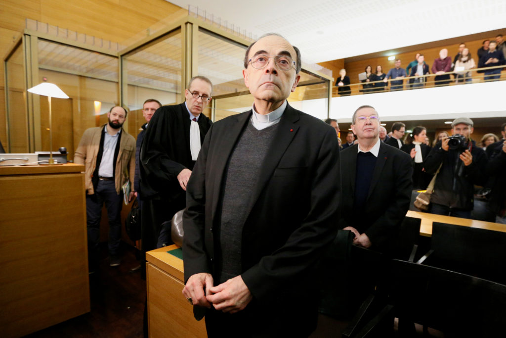 Cardinal Philippe Barbarin, Archbishop of Lyon, arrives to attend his trial, charged with failing to act on historical allegations of sexual abuse of boy scouts by a priest in his diocese, at the courthouse in Lyon, France. Photo by Emmanuel Foudrot/Reuters
