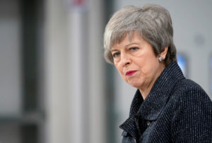 British Prime MinisterTheresaMaydelivers aspeechduring her visit in Grimsby, Lincolnshire, Britain March 8, 2019. Christopher Furlong via Reuters