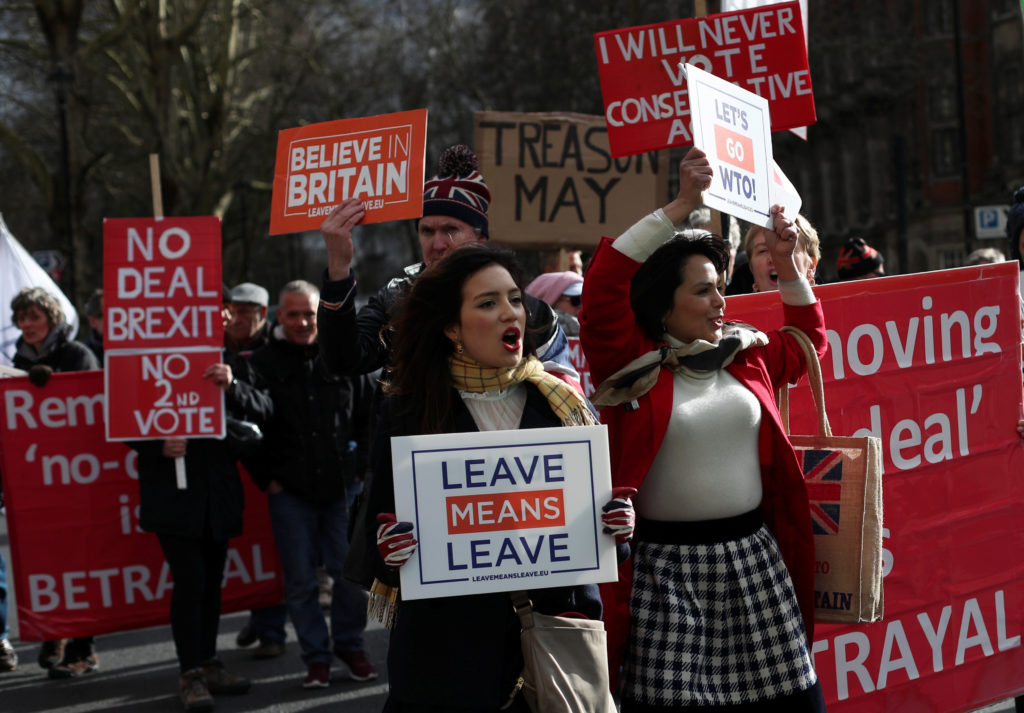 Pro-Brexit protesters demonstrate outside the Houses of Parliament in London on March 13, 2019. Photo by REUTERS/Hannah Mckay